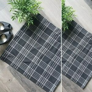 New loft black grey plaid plus size pencil skirt